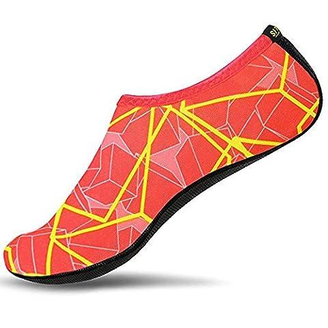 SITAILE Sommer Aqua Schuhe Barfuß Weich Wassersport Yoga Schuhe Strandschuhe Schwimmschuhe Surfschuhe für Damen Herren,Orange,L,EU38-39