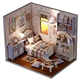 Pizies DIY Wooden Doll House Miniature Cabin Kit Novelty Girls Children Birthday Gifts Home Decorations with Led