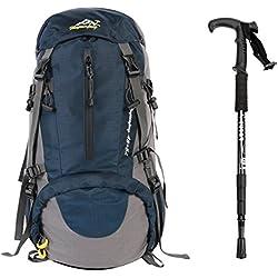 Outdoor Rucksack ,YOUGO 45L+5L Wasserdichter Rucksack herren Trekking Reiserucksack Trekkingrucksäcke mit einer Regenabdeckung (Blau 1)
