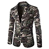 Sannysis Lässiger Blazer Herren Slim Fit Herbst Winter Strickjacke Camouflage Jacke Langarm Mantel Top Suits