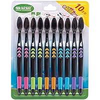 AMIUBO - Pack de 10 cepillos de dientes de carbón de bambú, cerdas súper suaves