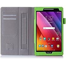 ISIN Custodia Tablet Serie Premium Pelle PU Stand Cover per ASUS Zenpad 8 pollici Tablet Z380C Z380KL con Cinturino in Velcro e Slot per Schede Verde