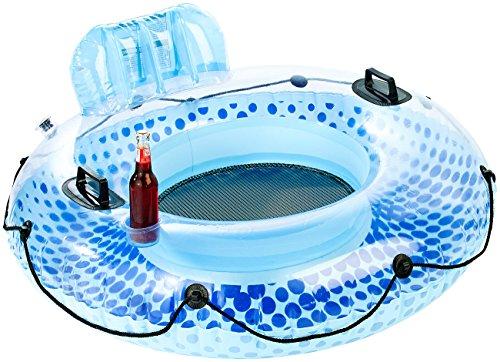 infactory Wasserbar: Aufblasbarer Schwimmring mit Rückenlehne und Getränkehalter (Pool-Minibar)