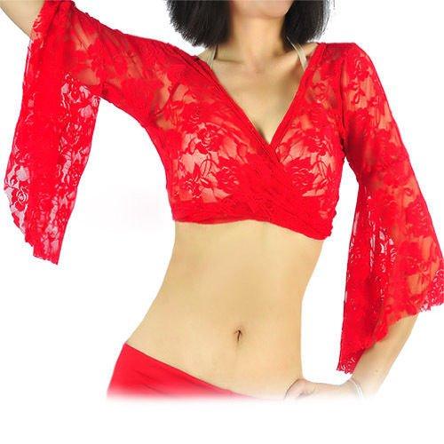 Gleader Danza del ventre sexy camicetta di pizzo Choli Top Bra abiti di ballo Costumi-Rosso