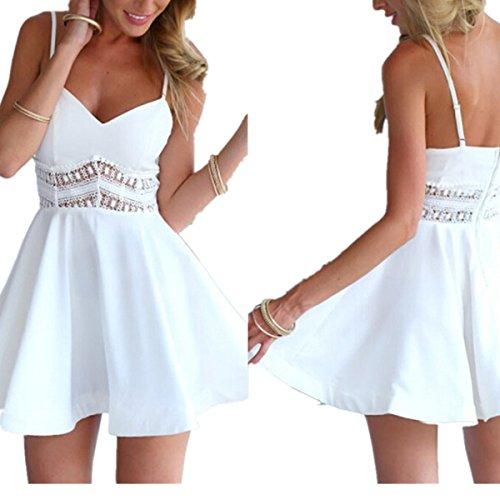 LOBTY Sommer Damen Ohne Arm Kleid Minikleider Damen SommerKleider Dress Abendkleider Spitze Cocktailkleider Petticoat A-Linie Rock hohl Weiß
