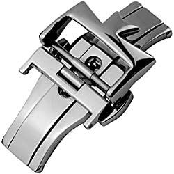 New 18mm Stainless Steel Silver Deployment Clasp Buckle Replacement
