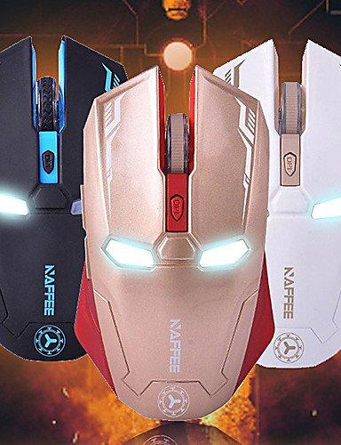 NAFFEE G56D Gaming Wireless 2,4GHz Silence Maus 2000DPI Iron Man weiß weiß