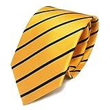 TigerTie Designer Krawatte Seide gelb blau dunkelblau gestreift