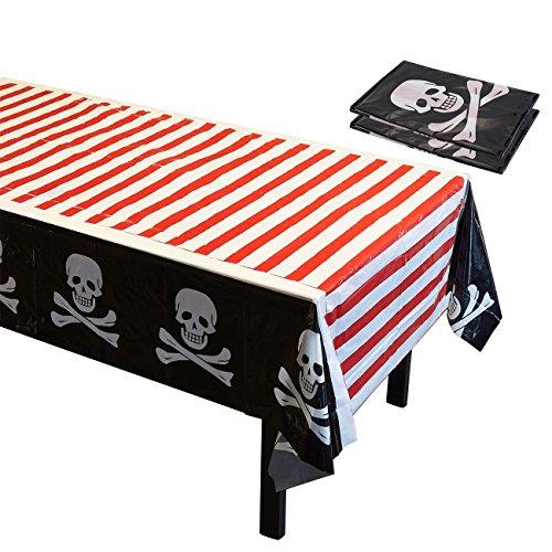 Piraten-Partyzubehör – 3 Stück Einweg-Tischdecken aus Kunststoff für Kinder, Geburtstagstischdekorationen in Rot, Weiß und Schwarz, 137,2 x 274,3 cm