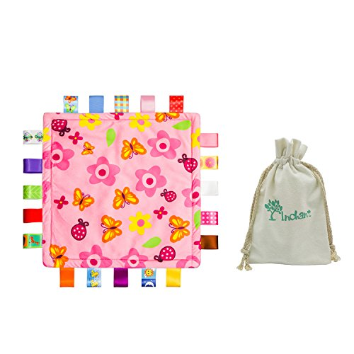 Inchant Baby-Geschenk-Set, bunte Taggies Rosa Blumen Sicherheitsdecke Tröster und Cotton-Geschenk-Beutel
