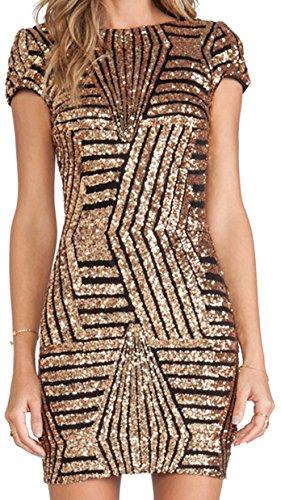 URqueen Women's Pailletten Rückenfrei Bodycon Party Mini Kleider Gold