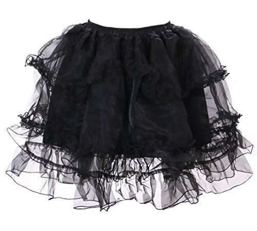 JL-652-3 schwarz Kristall Organza Petticoat Harajuku Tutu Rock Unterock Pastel Goth Punk Lolita (Medium)