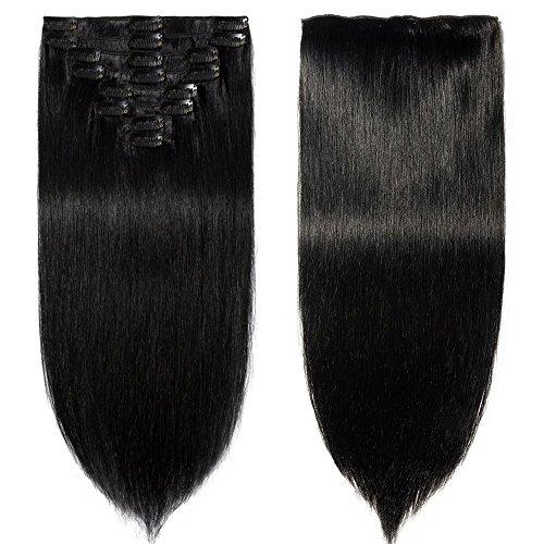 Extension capelli veri neri clip 100% remy human hair tessitura con clips full head corti (20cm-65g #1 jet nero)