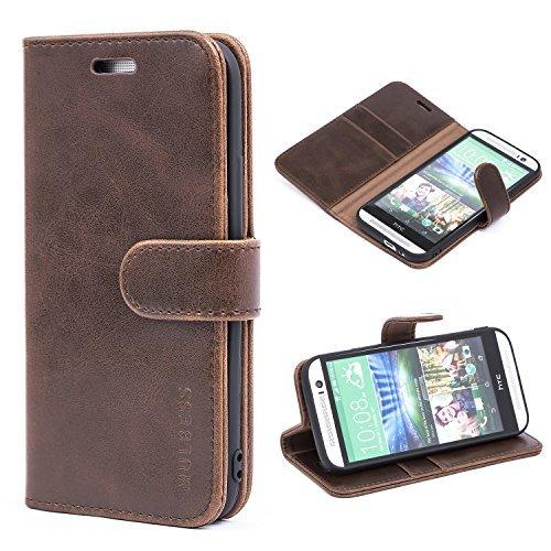 Mulbess Ledertasche im Ständer Book Case / Kartenfach für HTC One M8 Tasche Hülle Leder Etui,Vintage Braun