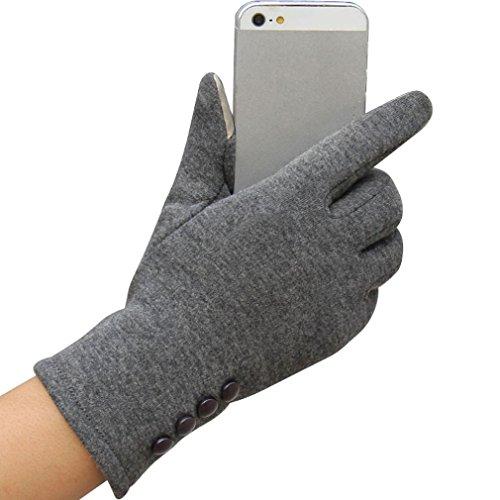 Handschuhe, Mode Damen Winter warme Outdoor Indoor Sport Baumwolle Handschuhe von Dragon868 (Grau) (Dünne Leder-handschuhe)