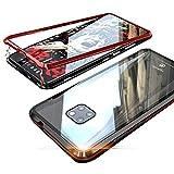 Jonwelsy Huawei Mate 20 Pro Hülle, Stark Magnetische Adsorption Technologie Metallrahmen, Transparent Gehärtetes Glas Rückseite Handyhülle für Huawei Mate 20 Pro (6,39 Zoll)