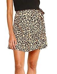 3f383b8c1d Mujeres Leopardo Impreso Falda Casual Corto Faldas de Playa Lado de la Hoja  de Lotus Falda