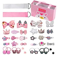 Sunwuun 36pcs Hair Clips Set for Little Girls Hair Accessories Cute Baby Hair Clips Mini Elastic Hair Bands Hair Bows with Alligator Clips Perfect Gifts for Little Girl(Gift box)