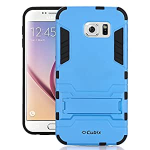 Galaxy S6 Case [Kickstand Series] Slim Hybrid Armor Protective Cover Bumper Case For Galaxy S6 Blue