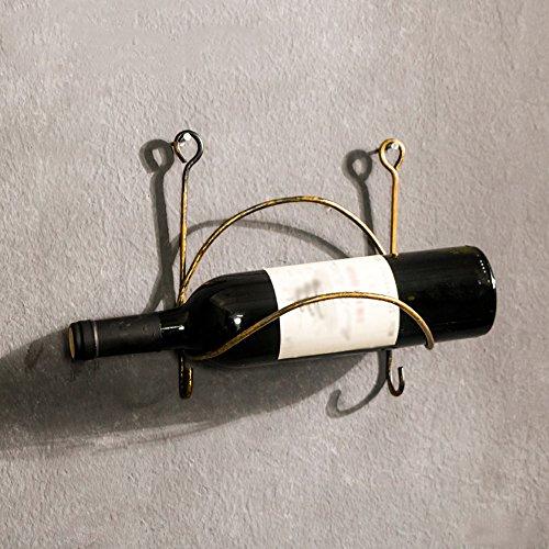 YAN&WEI Schmiedeeiserne Wein Regal Wand Einbau Flasche Lager Organisator Rustikale Wohn-Dekor...