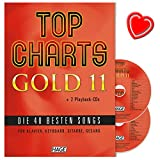 Top Charts Gold 11-40migliori canzoni per pianoforte, tastiera, Chitarra e canto con 2CD e colorata herzfoermiger Note KLAMMER