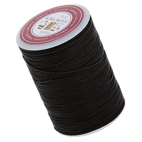 Sharplace Nähgarn 85M leder Nähen gewachst Garn faden Lederhandwerk - 0.6mm, Schwarz (Wachs, Faden Schwarz)