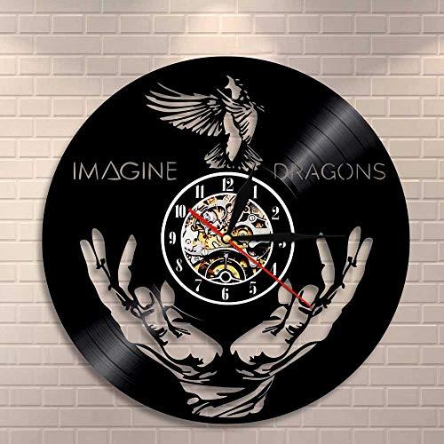 YUN Clock@ Orologio da Parete Famiglia Muro Disco in Vinile Imagine Dragons Decorazione creatività 3D Orologio Vintage Arte Design Gift/Diametro 30