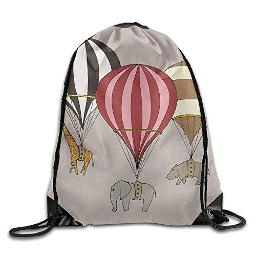 Hats New Elephant Giraffe Hippo Hot Air Balloon Archival Art Print Unisex Outdoor Rucksack Shoulder Bag Travel Drawstring Backpack Bag