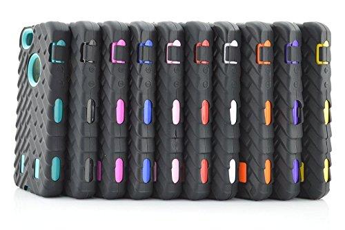 Iphone 5S Coque,Lantier Tire Conception fraîche de la série 3 en 1 Heavy-Duty Dual Layer Soft Touch Housse de protection avec boîtier intérieur dur PC pour Apple Iphone 5S Noir Tire Pink