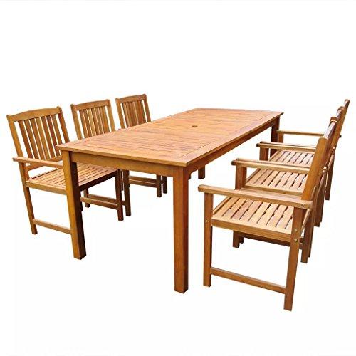 Tidyard Ensemble de Mobilier de Jardin 7 pcs 1 Table et 6 Chaises en Bois d'acacia Massif Marron 200 x 90 x 74 cm