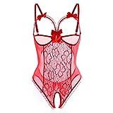 Frauen Wetlook Baby Dolls Dessous Erotik Damen Set Spitze Perspektive Dessous Unterwäsche (Rot, XL)