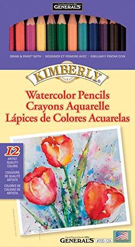 General Pencil 60% viscosa/40% Poliestere-Kimberly Watercolor Pencils, Confezione da 12