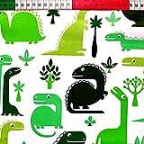 100% Baumwolle Baumwollstoff Kinder Kinderstoff Meterware Handwerken Nähen Stoff Tiermotiv 100x160cm 1 Meter (Dinosaurier Grün)