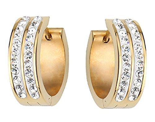 Frauen Hoop Creolen Ohrringe Edelstahl Vergoldung Huggie 2 Linien Cz Cluster Von AieniD (14k White Gold Huggies-ohrringe)
