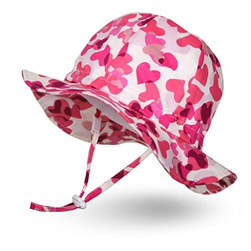 Ami&Li tots Mädchen Sonnenhut Verstellbarer Hut mit breiter Krempe Sonnenschutz UPF 50 für Baby Mädchen Jungen Säugling Kind Kleinkind Unisex - S: Rosa Herzen