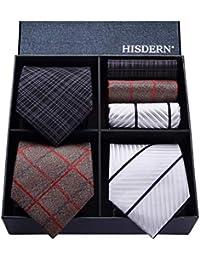 HISDERN Lot 3 PCS Ensemble de cravate pour homme Affaires classique de soiree de mariage Polka Dot Check Stripe Solide Couleur Cravate et Pocket Square-Plusieurs ensembles