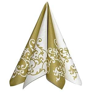 servietten pomp gold wei tischdeko hochzeitsdeko servietten falten 50stk 40x40cm. Black Bedroom Furniture Sets. Home Design Ideas