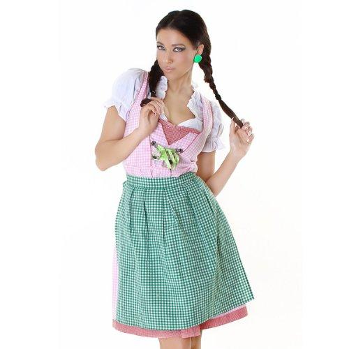 3tlg. Dirndl Set - Komplettes Oktober Fest Outfit mit Dirndl, Dirndl Bluse & Schürze + Gratis Schürze in verschiedenen Farben (44, Dinrdl Rosa / Schürze Grün + extra Schürze Grün Uni)
