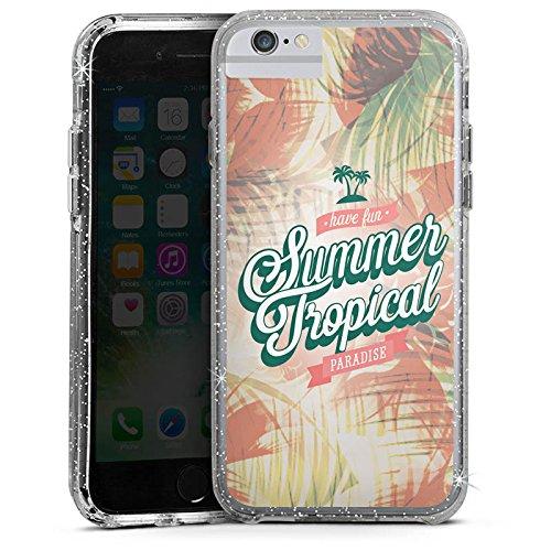 Apple iPhone 7 Plus Bumper Hülle Bumper Case Glitzer Hülle Summer Sommer Paradies Bumper Case Glitzer silber