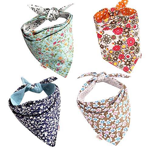 Qchengsan - Paquete de 4 pañuelos de Bandana para Perro, diseño de...