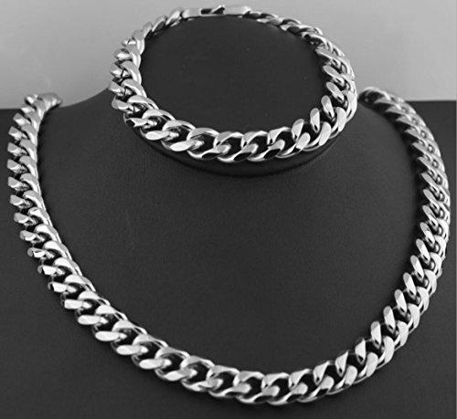 Set Edelstahl Poliert Sechs-Gesicht Halskette Armband Silber ()