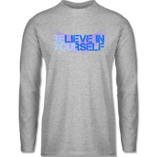 Shirtracer Statement Shirts - Believe in Yourself - Herren Langarmshirt  Grau Meliert