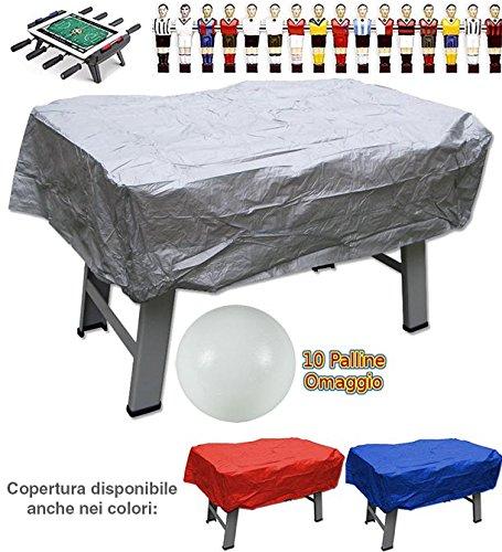 Calcio balilla copertura in plastica grigia per interno ed esterno universale per ogni tipo di calcetto. Set di 10 palline in omaggio.