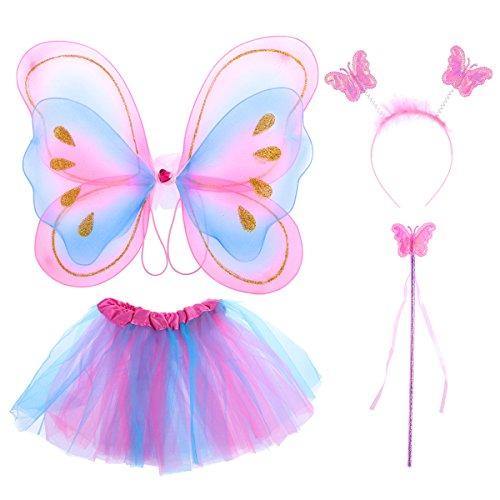 (LUOEM Kinder Mädchen Fee Kostüme Prinzessin Schmetterlingsflügel Stirnband Zauberstab Tutu Rock Party Kostüm 4-teiliges Set)