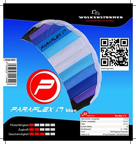 Wolkenstürmer Paraflex Basic 1.7 Lenkmatte, Blau - 2-Leiner Kite für Anfänger