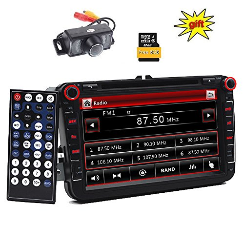 Doppel DIN GPS Auto-Stereo 20,3 cm Digital Touchscreen Schrecken System Auto DVD Player in Dash GPS Navigation USB/SD FM AM RDS Autoradio Bluetooth Haupteinheit für VW Golf 5 6 Polo Jetta Touran Eos Passat CC Tiguan Sharan Scirocco Caddy + CANBUS für Lenkrad + Backup Kamera + 8 GB Europäische Karte (Dvd-player Bluetooth Dash In)
