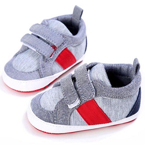 BZLine® Tissu en Coton Chaussures de premier pas de Style souple pour Bébé Unisexe 0-18Mois (0~6Mois, Kaki) Gris