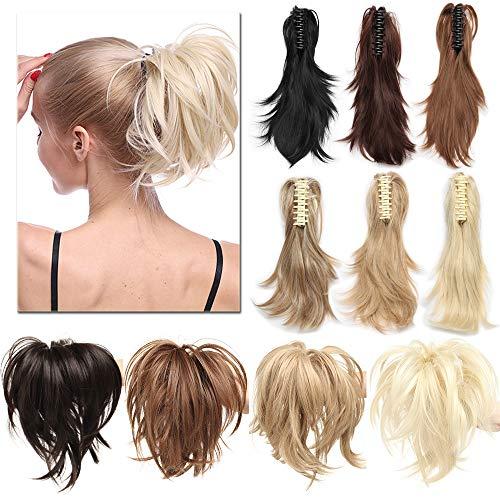 aarteil Ponytail Extensions DIY Haarverlängerung Clip in Synthetik Haare für Zopf Haarteil Hair Extensions 12