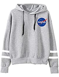 EMILYLE Damen NASA Sweatshirt National Space Administration Logo Streifen Druck Jumper