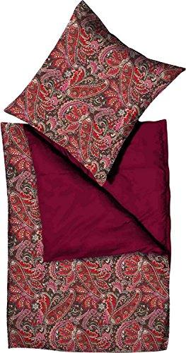 Momm Mako-Satin Wendebettwäsche Vapi rot/Bordeaux 1 Bettbezug 155 x 220 cm + 1 Kissenbezug 80 x 80 cm - Paisley-satin-kissenbezug
